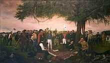 American frontier - Sam Houston accepting the surrender of Mexican general Santa Anna, 1836.
