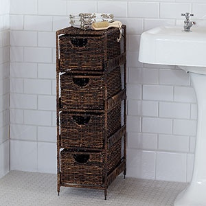 whenever we get to renovate our bathrooms, I want something like this in them! Super cute with great storage!