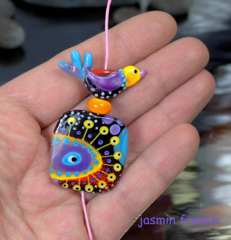 °° MOONFLIGHT °° lampwork bead by jasmin french