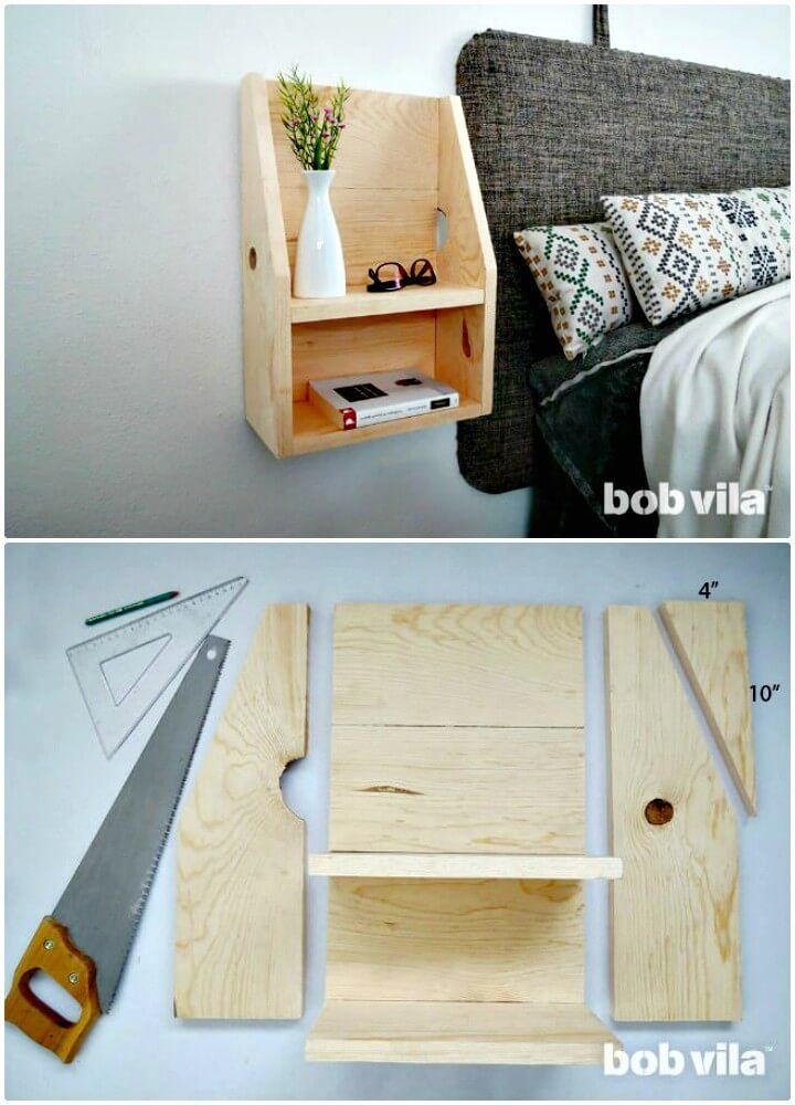 How To Diy Floating Nightstand Wall Organizer Diy Furniture Furniture For Small Spaces Diy Nightstand