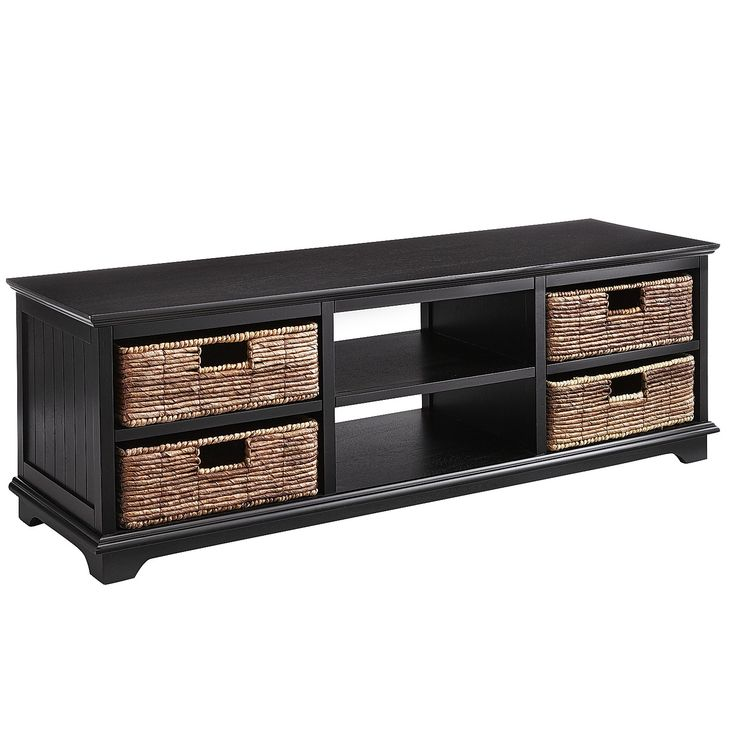 "Holtom Rubbed Black 56"" Tv Stand With Baskets"