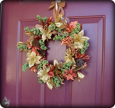 """*This is a repost. Bringing it back cause it is that time of year, and fall is in the air today. Are you ready to decorate, harvest style? I spent $9 at the Dollar Tree and made this harvest wreath for my front door. I got the inspiration after googling """"fall decor ideas"""" and running across"""