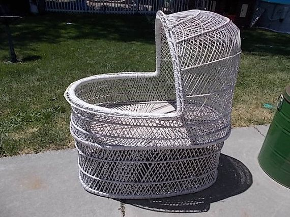 Beautiful Wicker Baby Bassinet Sweet /Not by Daysgonebytreasures