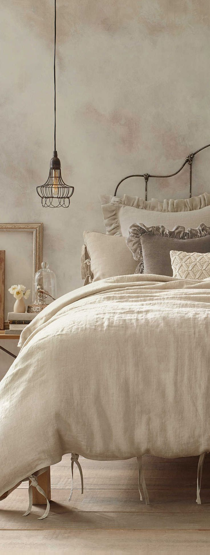 Vintage bedding in a rustic bedroom