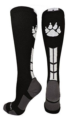 MadSportsStuff Wild Paw Over the Calf Socks (In Multiple Colors)  PERFECT SPORTS SOCKS: The Wild Paw over the calf sock is a great way to show your team spirit for mascots such as the Wildcats, Jaguars, Cougars, Panthers, Grizzlies, Lions or Tigers - ideal for basketball, lacrosse, volleyball, football, wrestling, cheer and teams!  ACCURATE SIZING: Shoe Size: Small - Youth 2-6, Medium - Mens 6-9 or Womens 7-10, Large - Mens 10-13 or Womens 11-14, X-Large - Mens 12-15 or Womens 13-16  P...