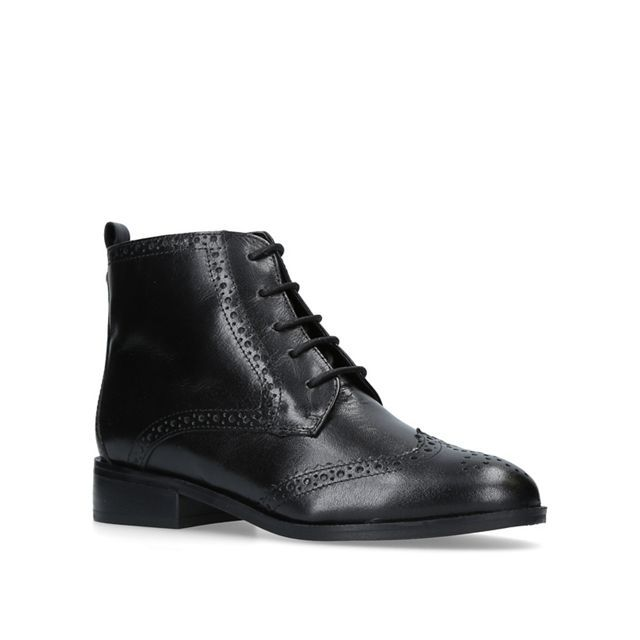 Black 'Toby' flat lace up boots