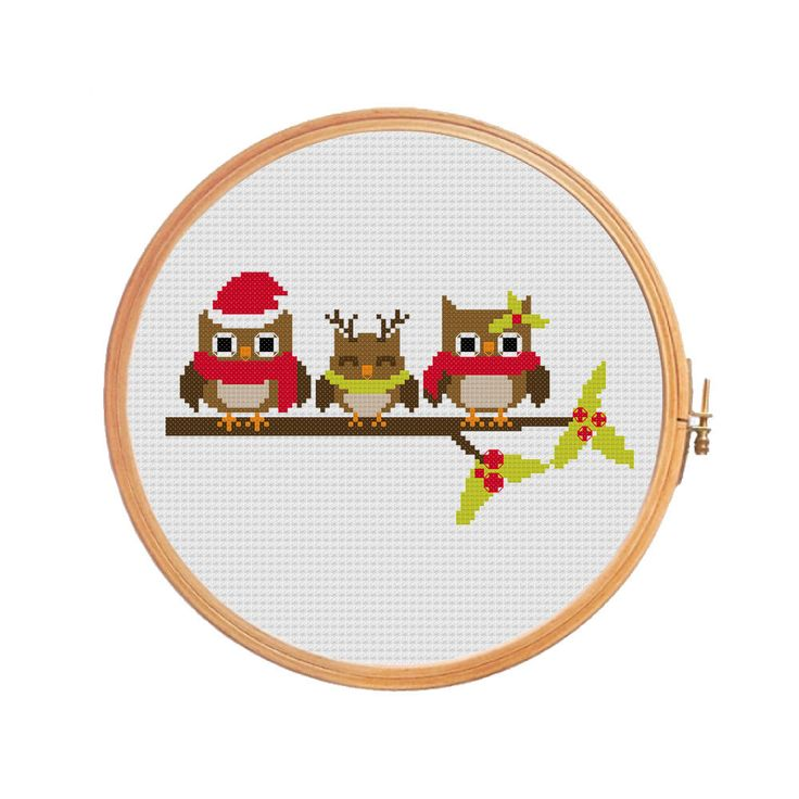 Owls Christmas cross stitch pattern brown by PatternsCrossStitch