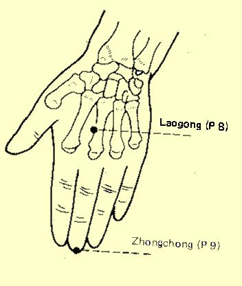 """The Laogong is a point on your hand that revives your consciousness and calms the spirit.  It is an acupuncture point, an acupressure point and breath and chi may also be directed through it.  It is also hypothesized that, """"In Reiki, Laogong is most likely the point through which Dr. Usui channeled Reiki energy."""""""