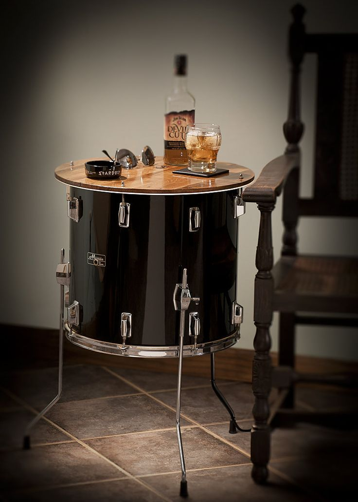 Drum repurposed as a side table