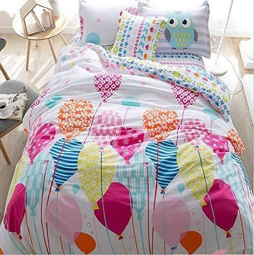 LELVA Cartoon Princess in Bed with a Cotton Jacket Kids Bedding Girls Children's Duvet Cover Set Bedding for Girls Twin Full Size 4pcs (1 Full)