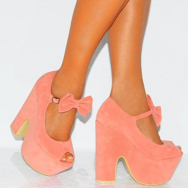 Ladies Coral Pink Bow Platform Wedged Wedges High Heels ($28) ❤ liked on Polyvore featuring shoes, platform shoes, pink shoes, high heeled footwear, wedge shoes and coral high heel shoes