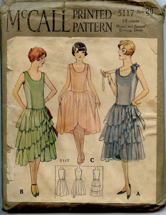 1920s McCall 5117 Vintage Sewing Pattern Misses Evening Dress Patten Bust 37 ...Pinned by WhatnotGems