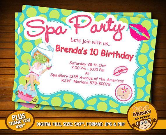 Spa Party Birthday Invitation Day Spa Party by funkymunkygoparty