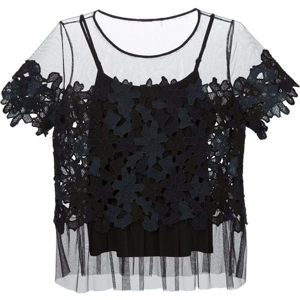 Elie Tahari sheer appliqué blouse (695 AUD) ❤ liked on Polyvore featuring tops, blouses, blue, transparent blouse, see through tops, sheer blue top, transparent tops and blue blouse