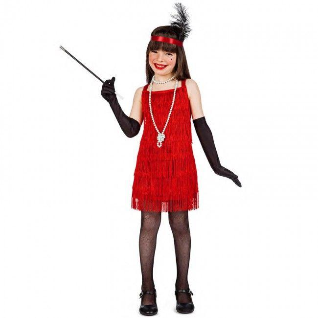 Disfraz de Charlestón flecos rojos para niña #disfraces #carnaval #novedades2017
