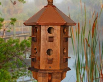 Wooden Bird House for sale especially for the Purple Martin Birds. These handcrafted birdhouses represent the perfect homemade purple martin box, rustic bird houses with Valentines Day Gifts in mind.    TIME to INSTALL Purple Martin Houses USA    Decorative, Functional, Unique, Large, Handcrafted    Free Shipping USA ~ Buy Direct Do you enjoy the outdoors, but hate the pesty flying insects? Invite a family of Purple Martins to live in your neighborhood.    Did you know...the Purple Martins…