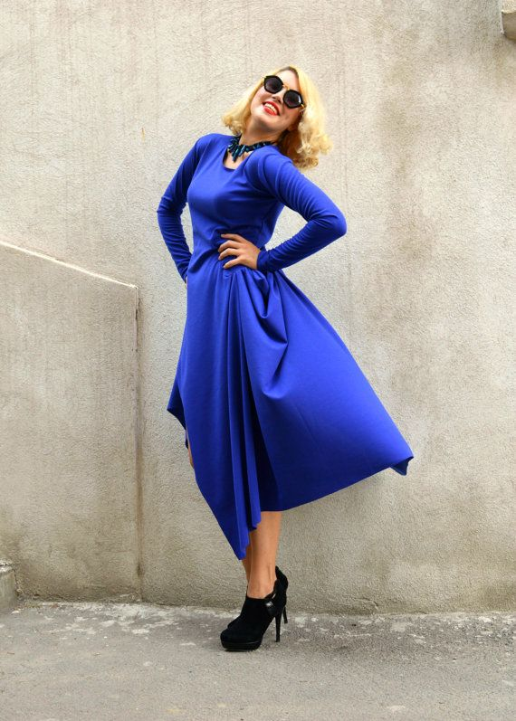 Blue Jersey Dress / Blue Extravagant Dress / Asymmetrical Blue https://www.etsy.com/listing/246241214/blue-jersey-dress-blue-extravagant-dress?utm_campaign=crowdfire&utm_content=crowdfire&utm_medium=social&utm_source=pinterest