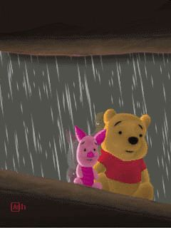 Rainy Day Friends Pooh Piglet gif