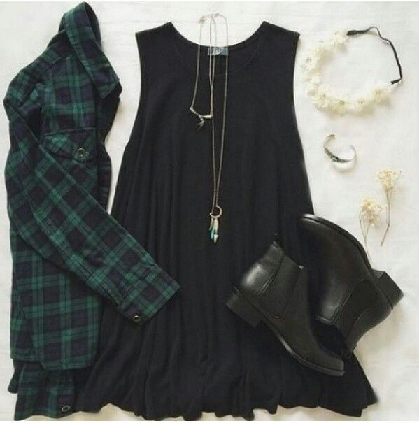 Hop dress with a flannel!!!:D                                                                                                                                                                                 More