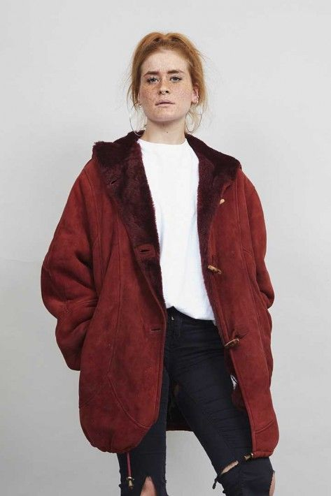 1980's vintage fully lined super oversized premium shearling coat.