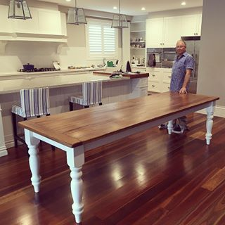 Chris on delivery day. This Hampton style dining table was custom made to suit our customers amazing kitchen.  www.bennellfurniture.com.au  #bennellfurniture #diningtable #diningtables #handmade #furniture #furnituredesign #interiordesign #kitchendesign