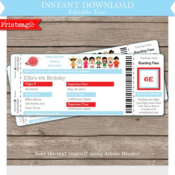 134 best Birthday Party Invitations images on Pinterest Birthday - airline ticket invitation