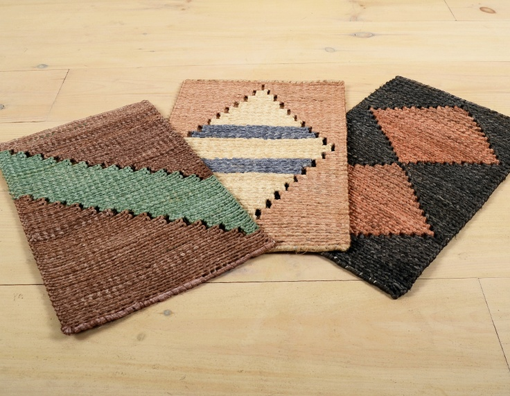 vegetable dyed straw mats from Brazil