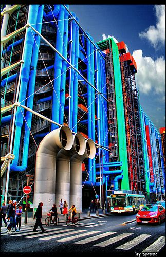 Centre Georges Pompidou Paris, home to the Museum of Modern Art. The building is as interesting on the outside as the art inside.