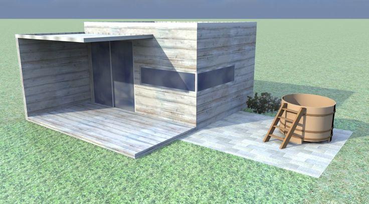Tuinhuis met horizontale planken en oversteek van 200 cm tuinhuizen prieelen afsluitingen - Moderne buiteninrichting ...