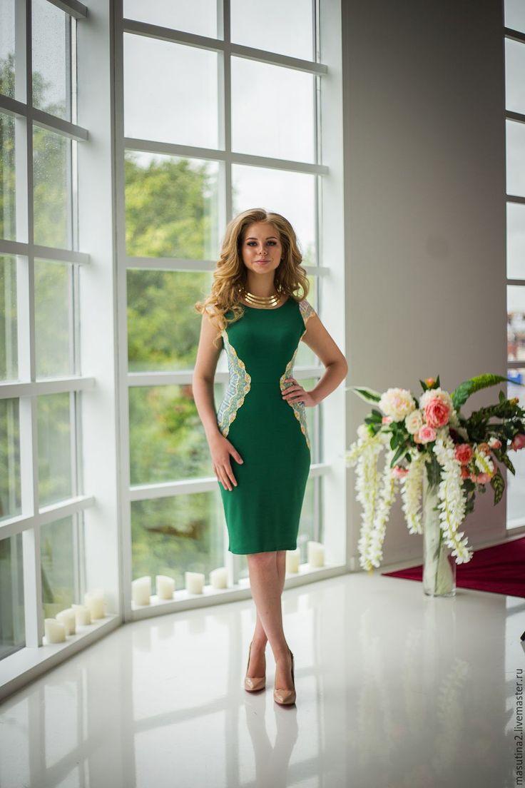 """Купить Платье """"Forest"""" - зеленый, однотонный, зеленое платье, кружевное платье, платье с кружевом"""