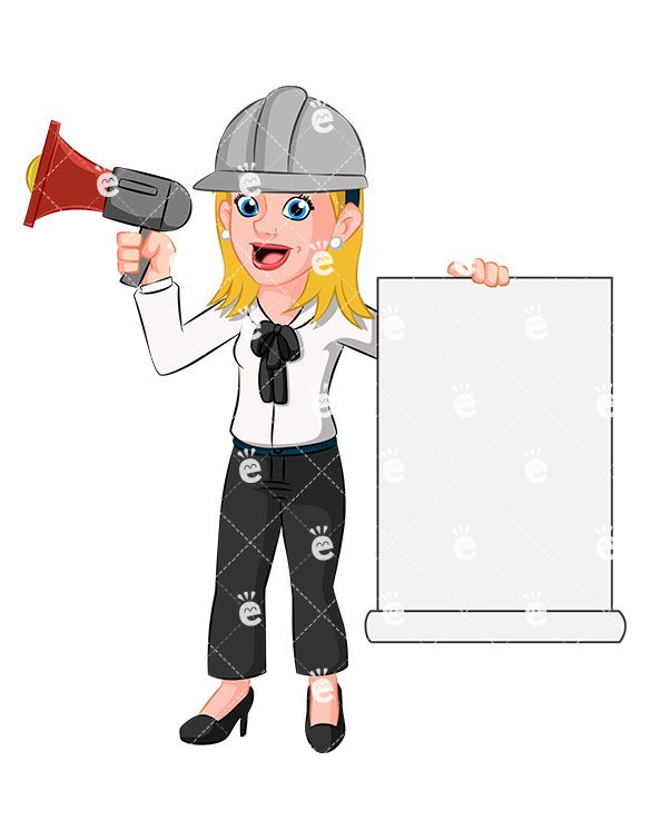 A Woman Holding A Megaphone And Wearing A Hard Hat:  #accountant #accounting #achiever #action #adorable #affiliate #attention #attractive #banker #banner #billboard #blank #blonde #blue-collar #boss #builder #building #bullhorn #business #businessdirector #businesswoman #calm #capitalist #career #cartoon #caucasian #CEO #character #clipart #company #composed #construction #constructionsite...