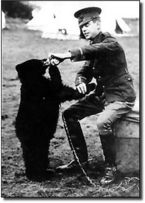 """The real """"Winnie-the-bear"""" and his soldier, before he got to the zoo...straight from Winnipeg, Manitoba, Canada! Great link."""