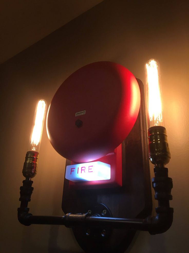 Handmade Industrial Fire Bell Wall Sconce Pipe Lamp by EmersonIndustrialCo on Etsy