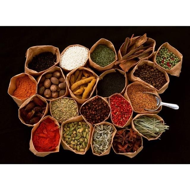 Indian Spices Herbs Canvas Art Dining Room Decor Canvas Prints Wall Walldecor Diningroomdecorat Chinese Medicinal Herbs Food Therapy Medicinal Herbs