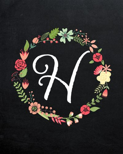 Flower Wreath with Monogram H on Chalkboard - Pink and Green Nursery Art Print