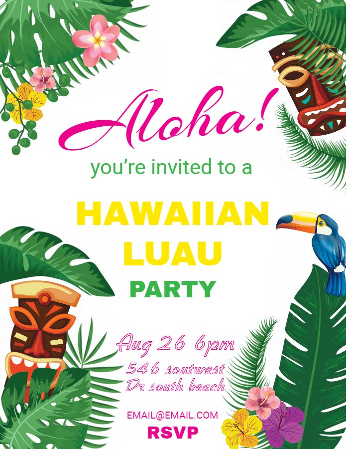hawaiian party invitations luau flyer template design luau party