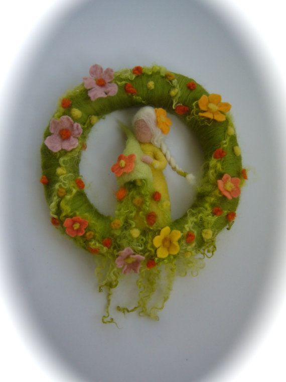 Spring Wreath.Fairy . Needle Felted. Waldorf.Wool. by FilzArts, $48.00