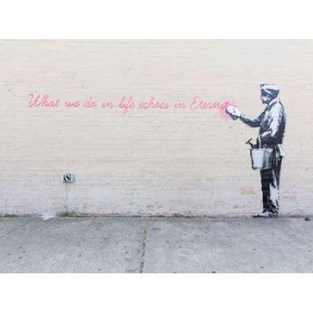 Posterazzi 68th Str-38th Avenue Queens NYC-graffiti attributed to Banksy Canvas Art - Dan Herrick (22 x 28)
