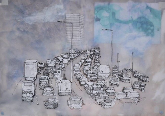 Sarah Sliverwood Smith  Drawing onto tracing paper, Sarah has been able to create a sense of smog and dust but retaining a sense of its temporality.
