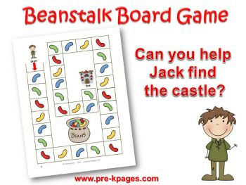 Printable Jack and the Beanstalk Board Game for Preschool and Kindergarten