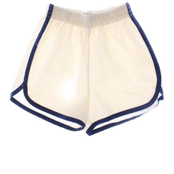 Vintage 70s Shorts: 70s -JCPenney- Womens cream background with blue... (21 CAD) ❤ liked on Polyvore featuring shorts, bottoms, short, cotton elastic waist shorts, blue shorts, blue short shorts, stretch waist shorts and vintage shorts
