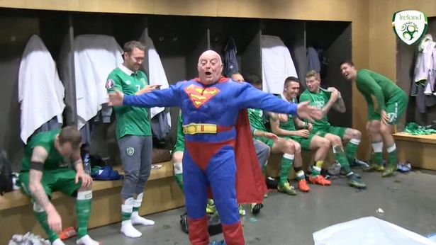 Republic of Ireland players celebrate Euro 2016 qualification with SUPERMAN in changing rooms.