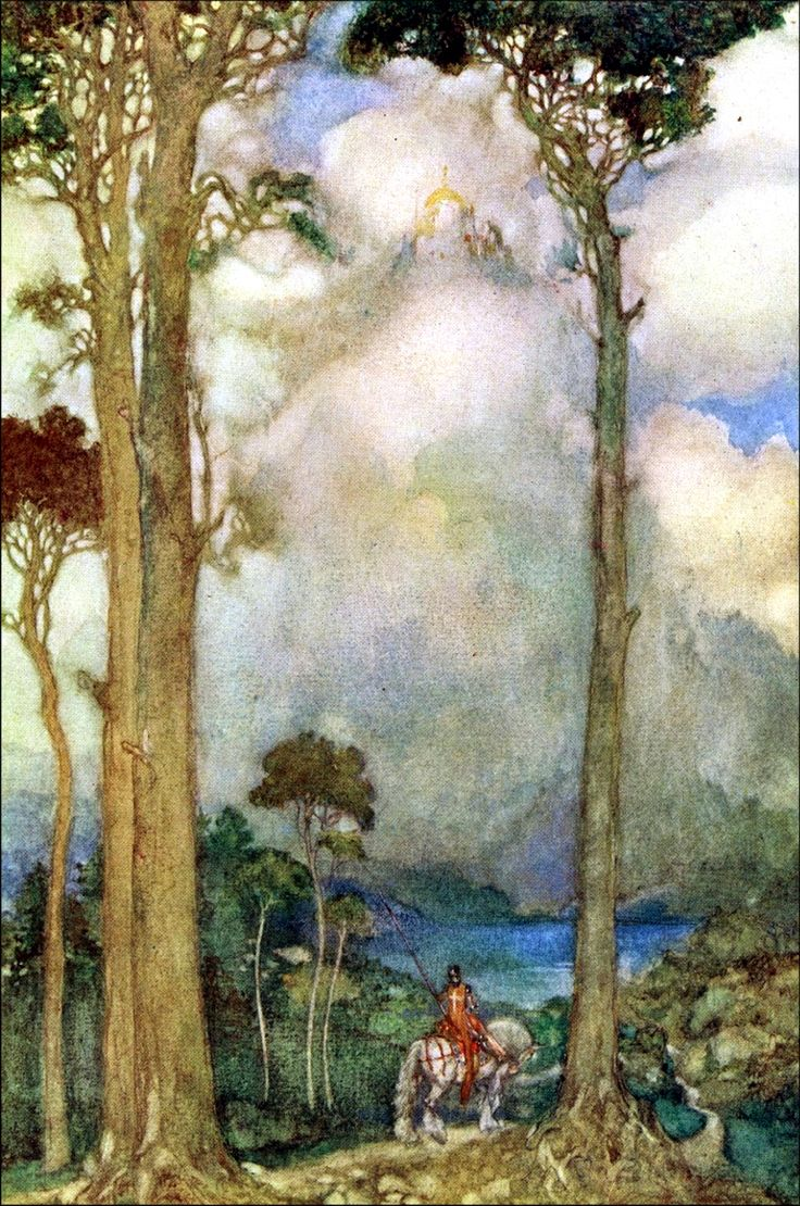 """Art by Willy Pogany (1912) from the book PARSIFAL - """"Coming of the grail."""""""