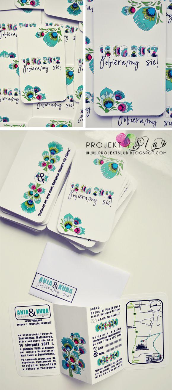 projekt ŚLUB - zaproszenia ślubne, oryginalne, nietypowe dekoracje i dodatki na wesele: Zaproszenia MINI FOLK z motywami łowickimi w wersji turkusowej