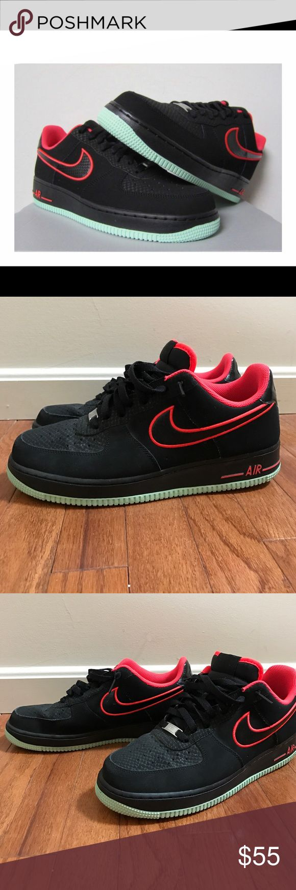 Men's Nike Air Force Ones EUC Nike Air Force 1 Low shoes. Unique colors - black, laser crimson, arctic green. Great condition! Missing the insoles. If purchased at regular price, I'll throw in some new ones with order. Nike Shoes Athletic Shoes