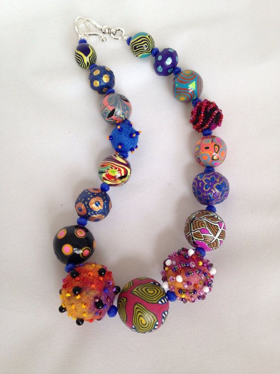 necklace of paper mache beads painted. by beadunsupervised on Etsy