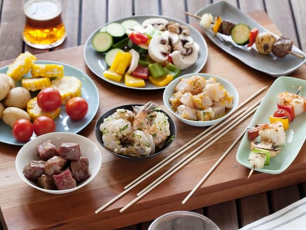 Set out an array of fresh vegetables and marinated beef, chicken, and shrimp, then let everyone thread their favorite ingredients onto skewers before cooking Shish Kabobs!  #RecipeOfTheDay: Food Network, Building Your Own Shish, Buildyourown Shish, Idea, Steaks Marinades, Shish Kabobs, Kabobs Marinades, Kabobs Recipes, Foodnetwork
