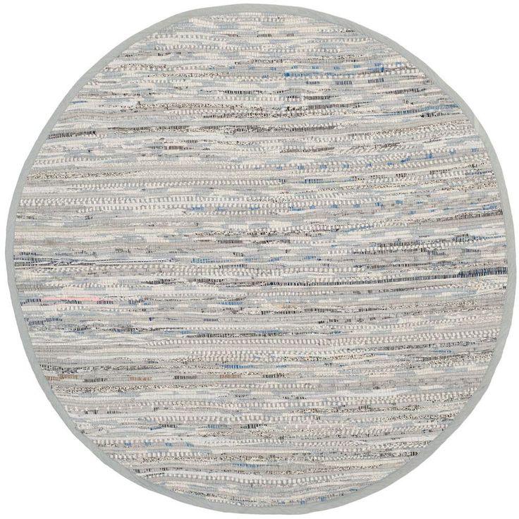 Safavieh Rag Rug Grey 4 ft. x 4 ft. Round Area Rug