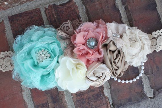 Stunning cream aqua and coral maternity sash/lace by bowsbands. , via Etsy.