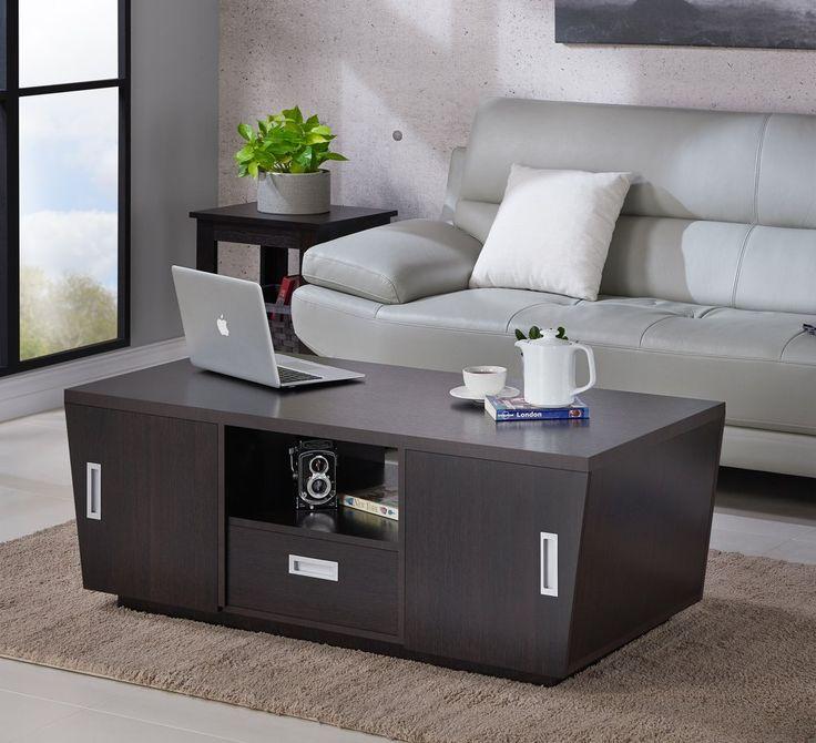 Zoriah Modern Multi Storage Espresso Coffee Table